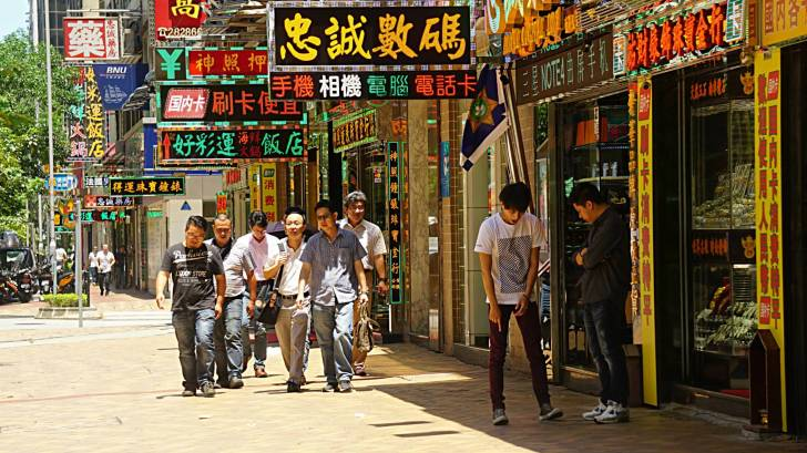 China street with people walking crowded