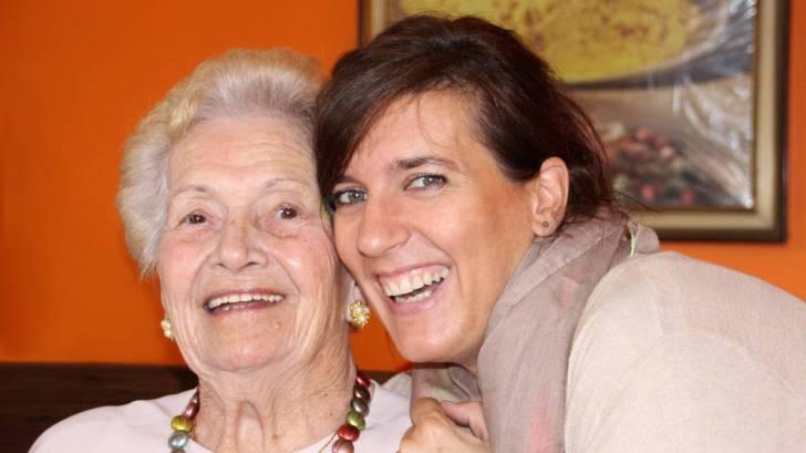 grandma and daughter smiling