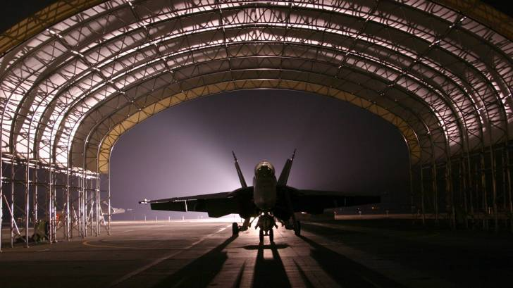 military air force base jet hanger