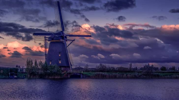 windill in the netherlands sun setting