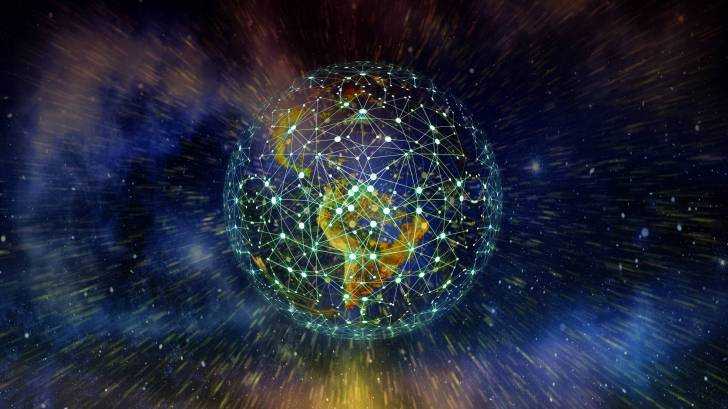 earth and a network around it