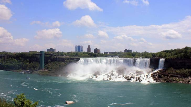 canadian niagra falls showing Ontario in the back ground