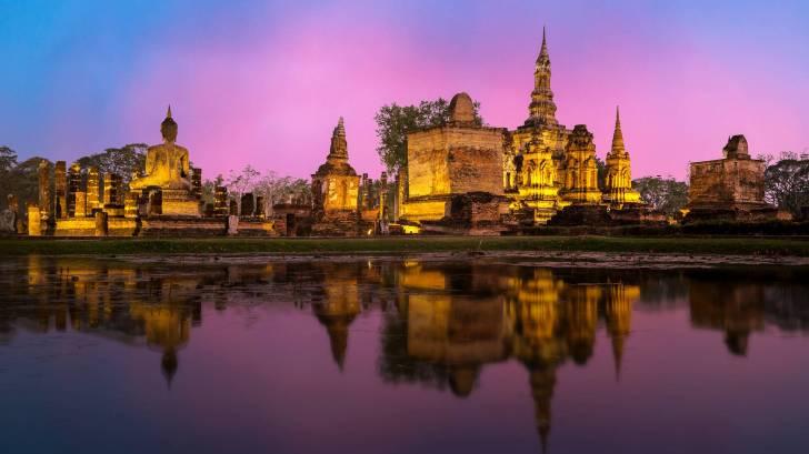thailand architecture at sun set