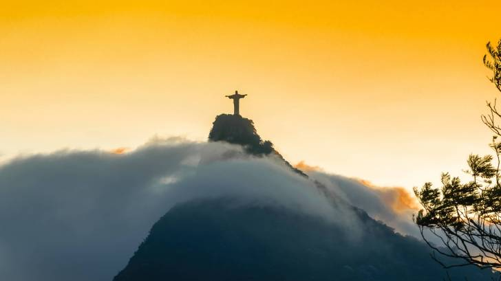 rio de janerio brazil, famous statue on the mountain top