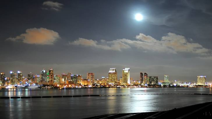 san diego with a full moon
