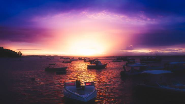 Brazillian beach with boats