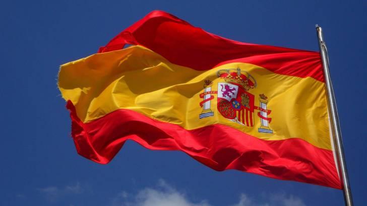 spain flag fluttering