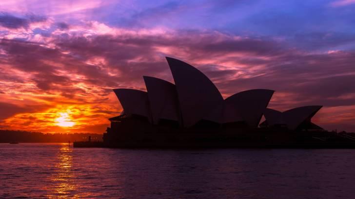 sydney opera house as th sun sets