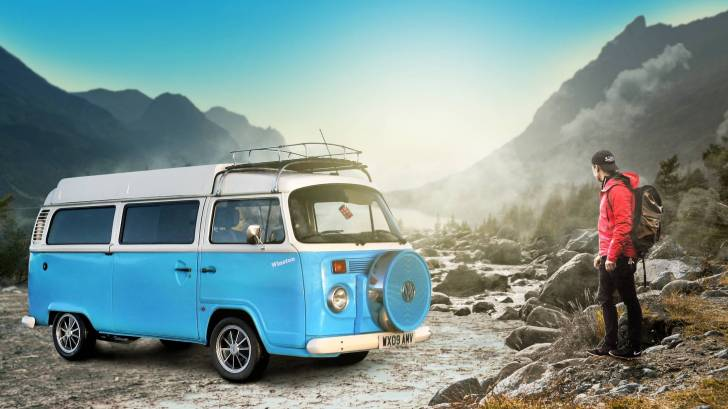 hippie van in the mountains