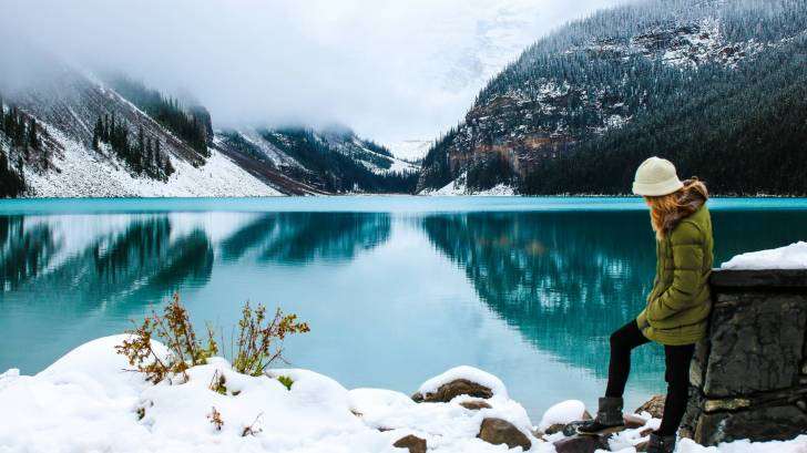 canada woman at lake