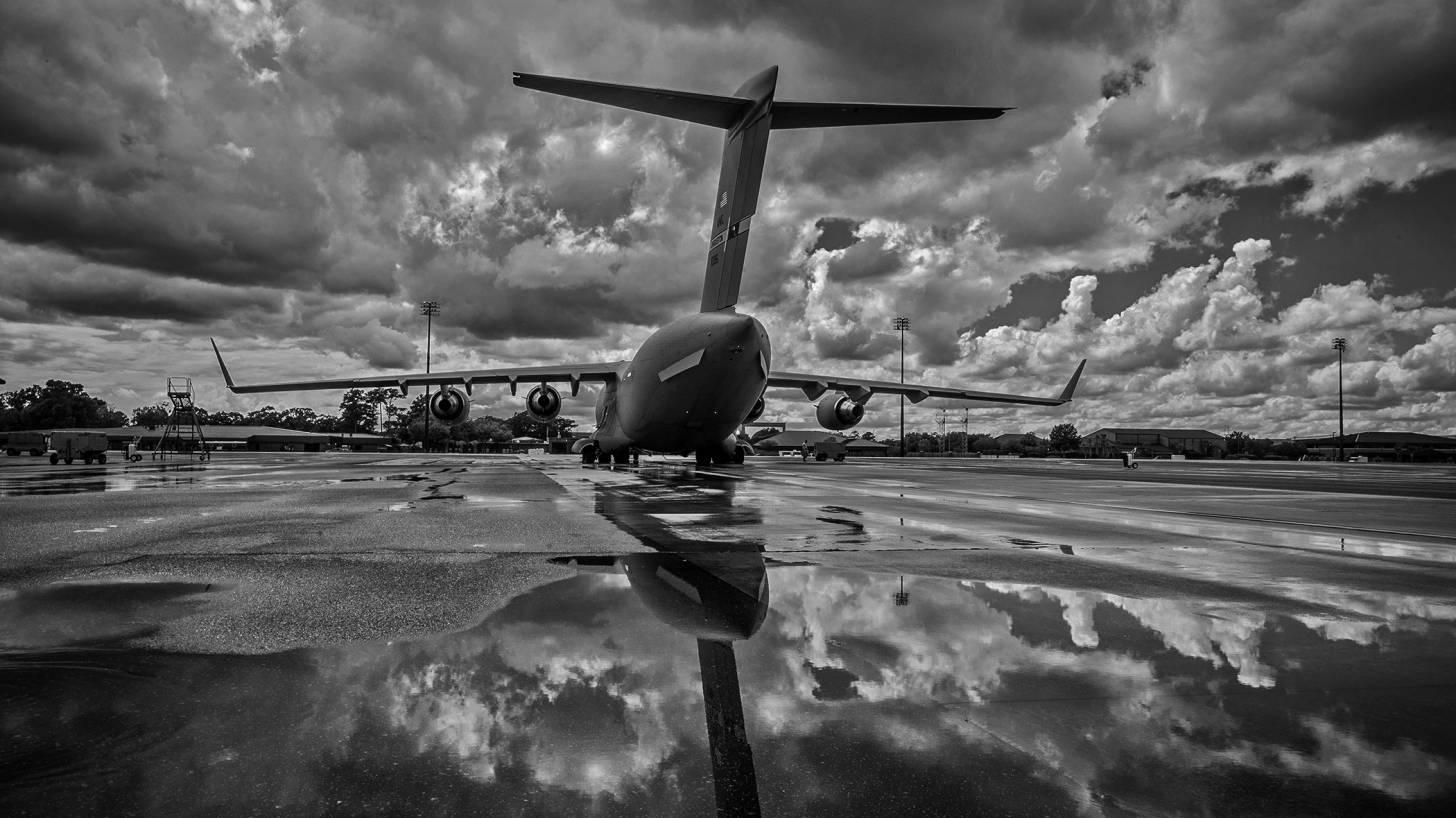 aircraft landing amid clouds