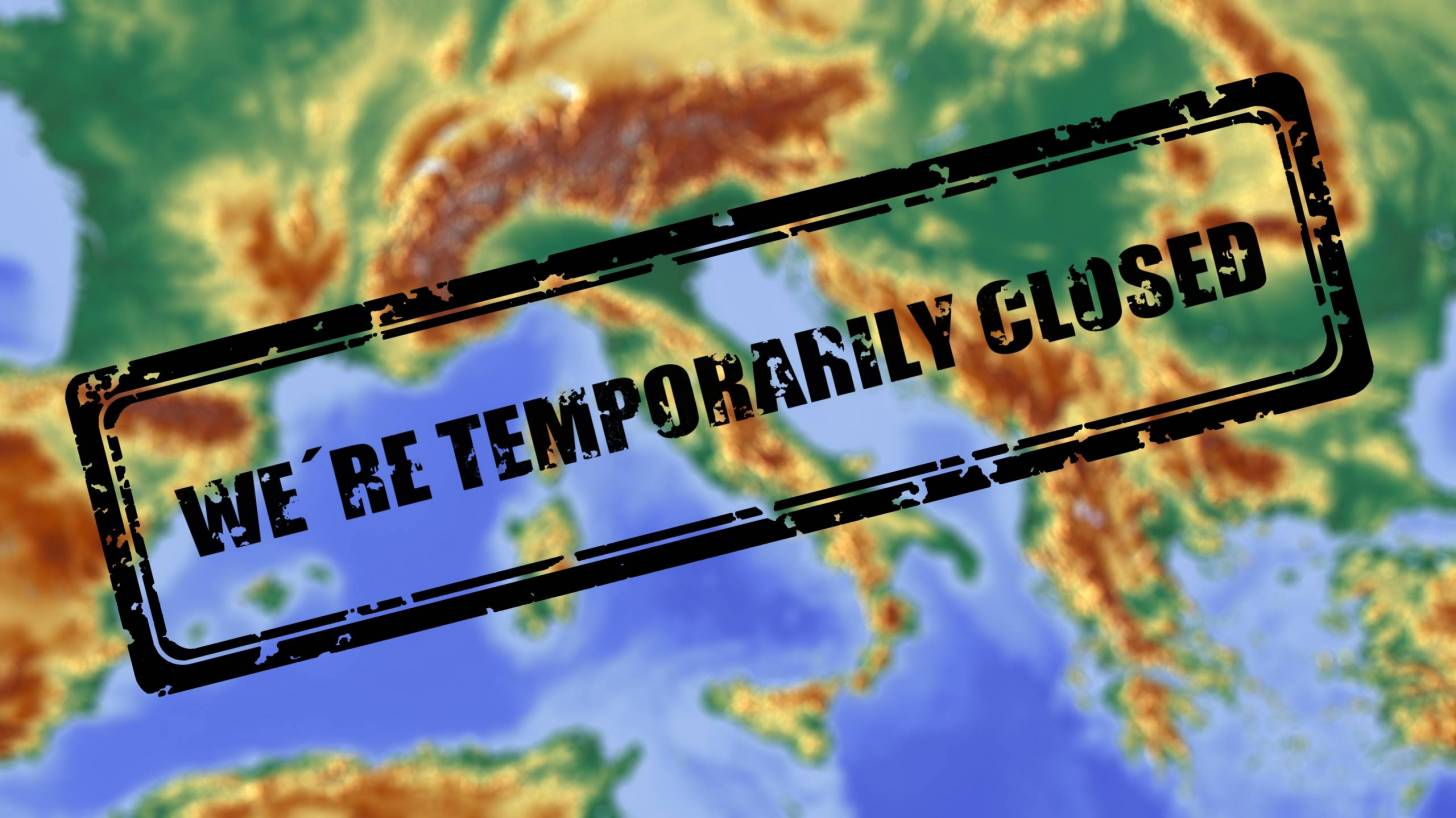 map of europe with the words temp closed stamped across