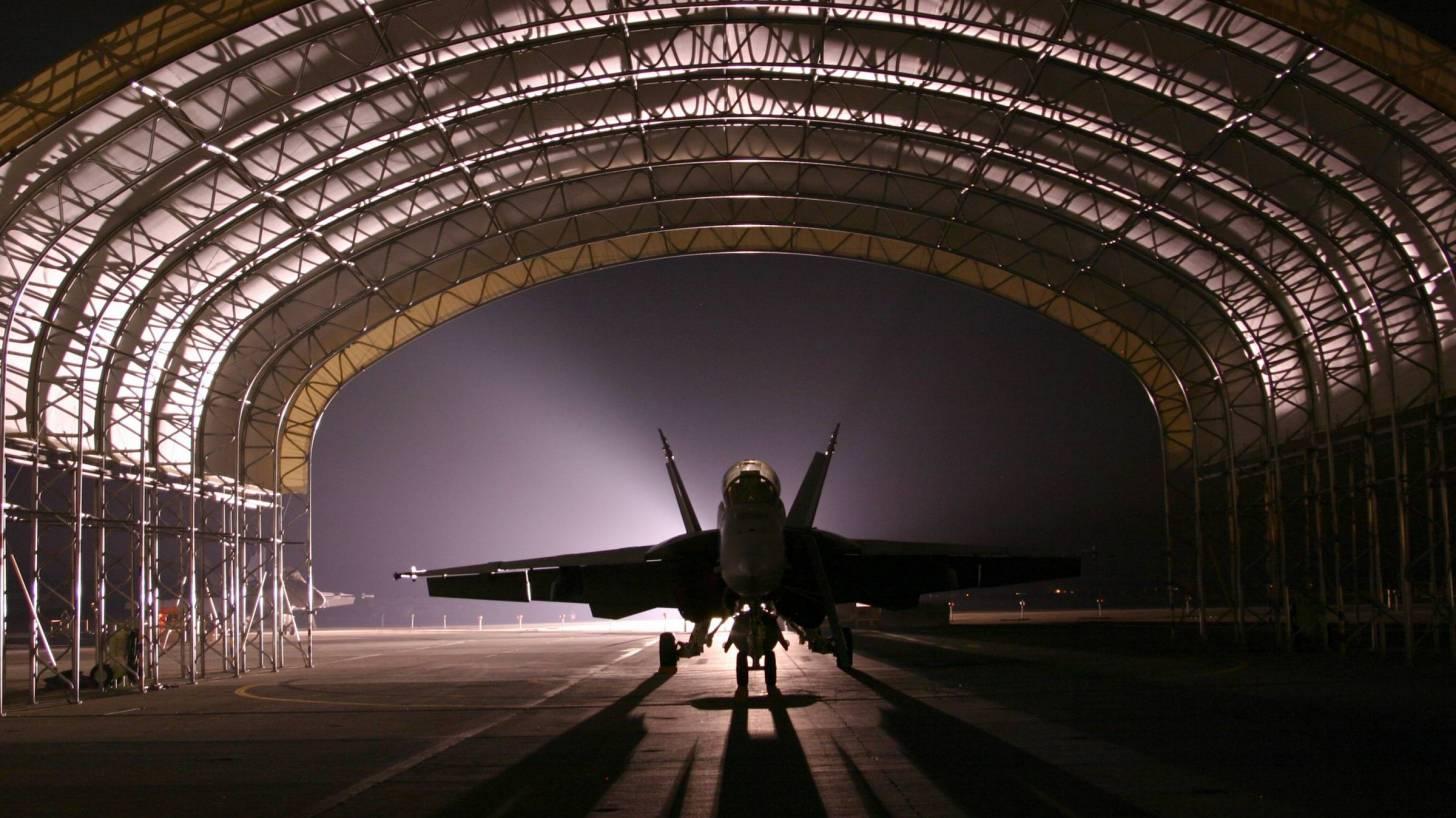 military air force base jet hanger