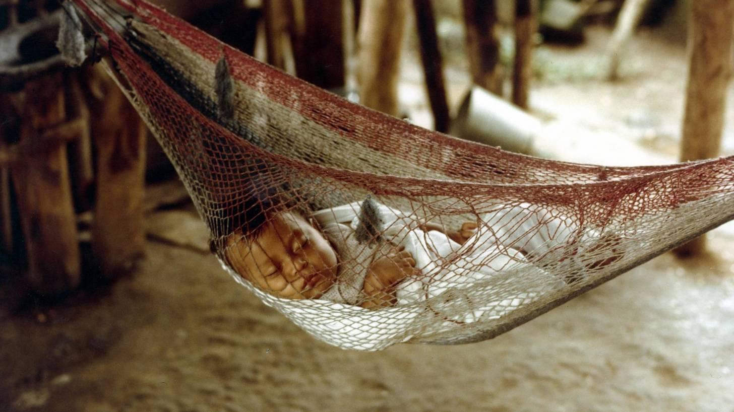 baby sleeping in a netted hammock