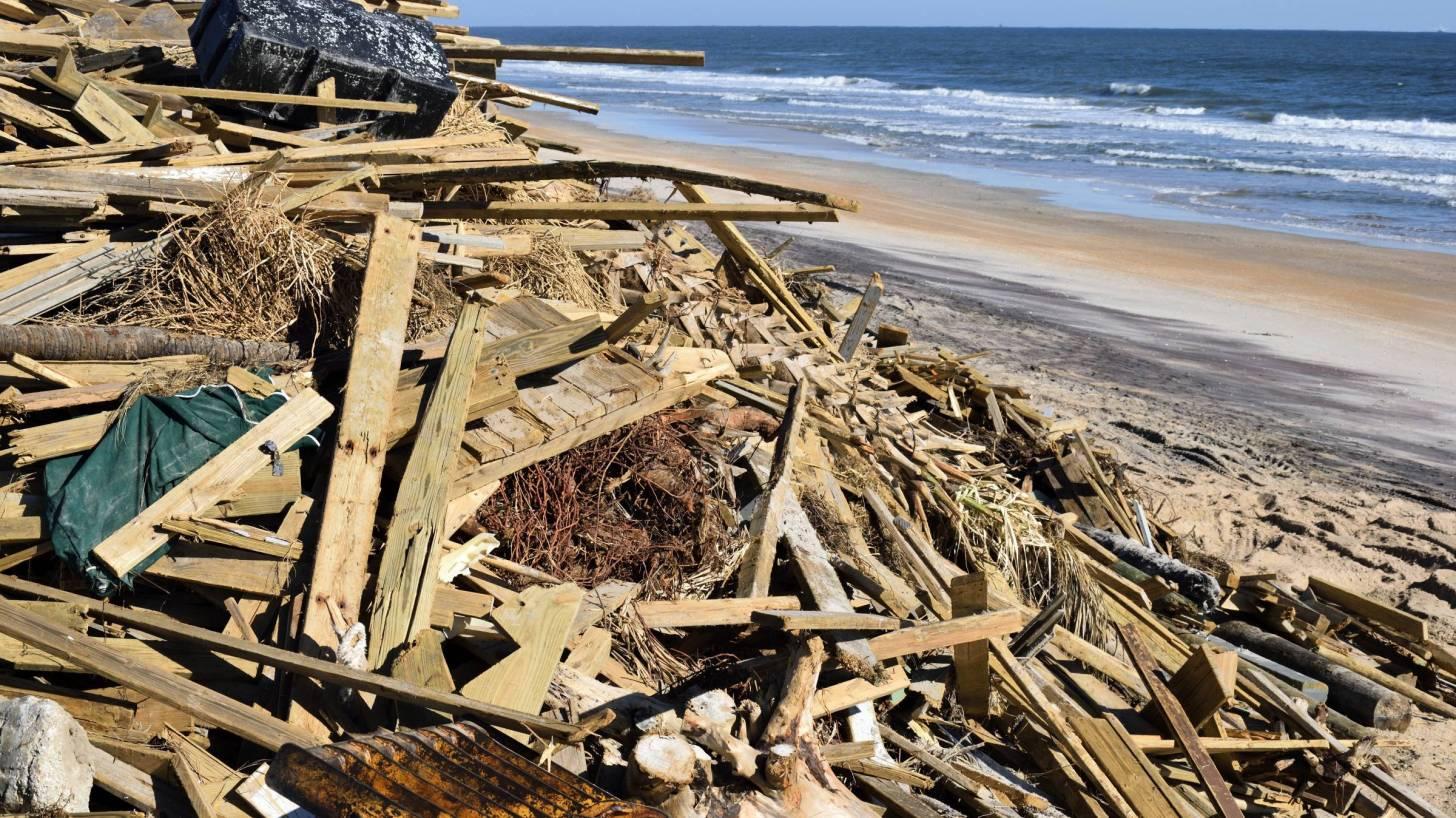hurricane debris on the beach