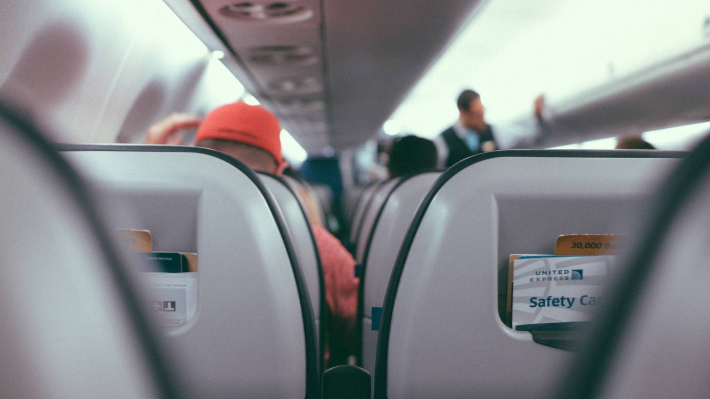 inside an airliner showing seats
