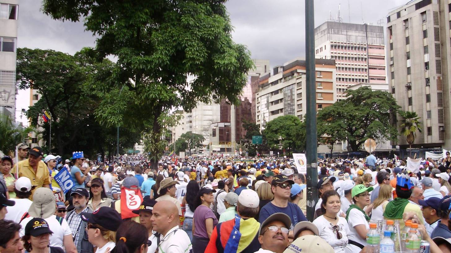 People marching in protest of the Venezuelan government