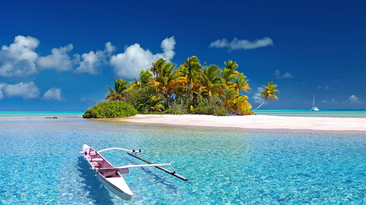 polynesian island with an outrigger