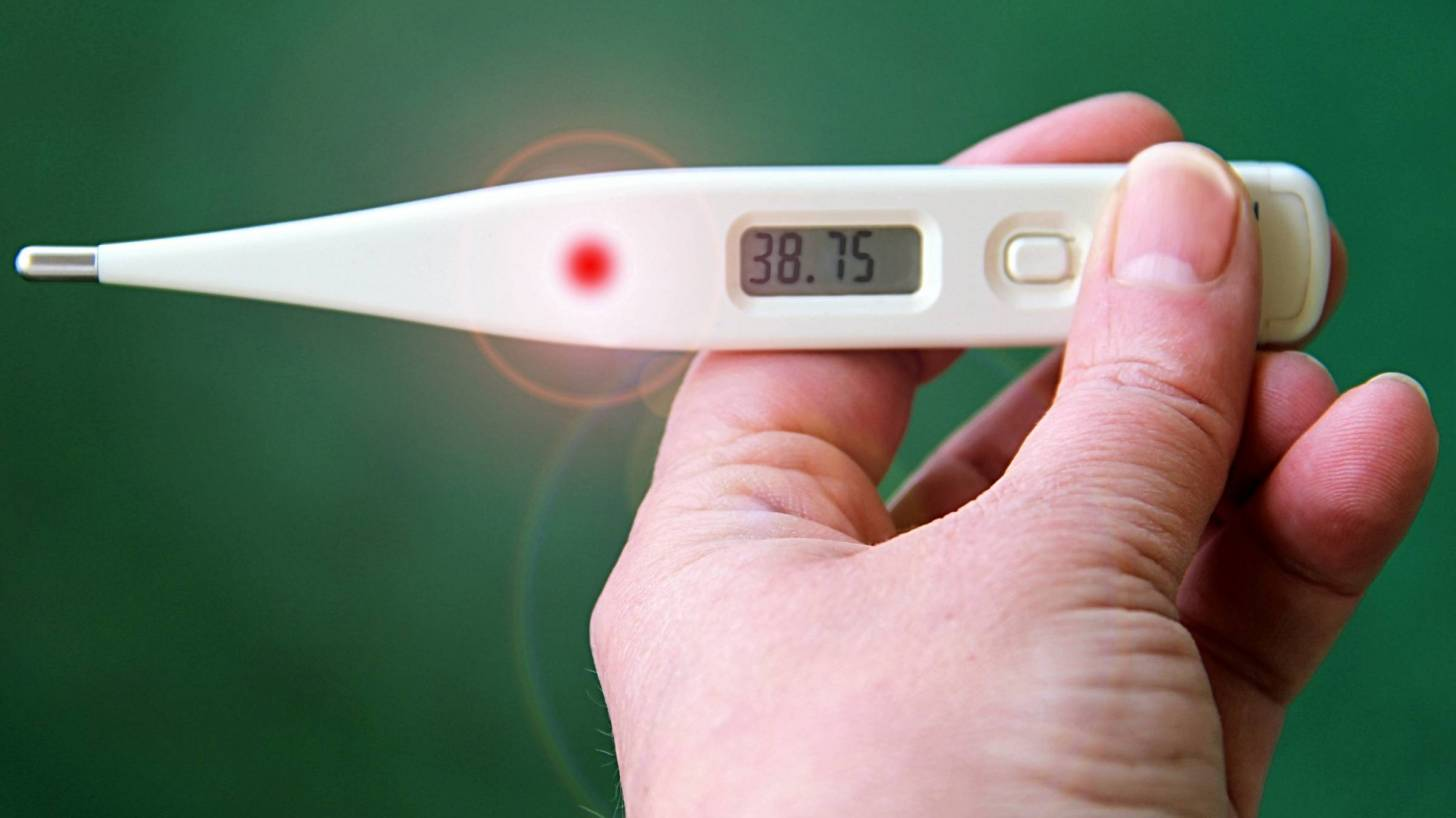 thermometer registering a fever, 37.5 c