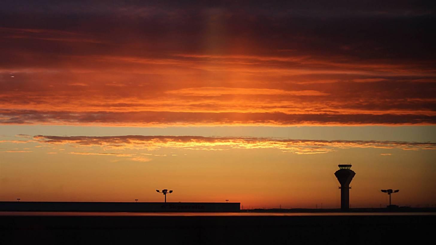 toronto's airport at sunset