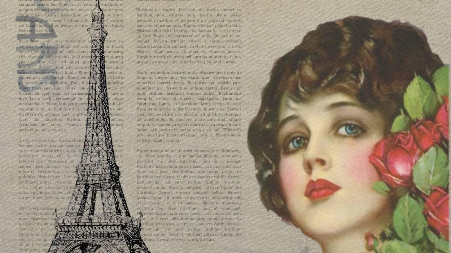 Vintage Paris paper with woman's face