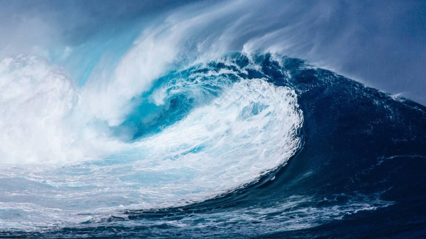 tsunami wave in ocean