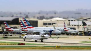 LAX airport with AA jets in the runways