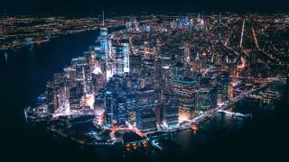 lower manhattan lit up at night