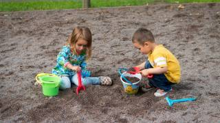 kids playing in the dirt