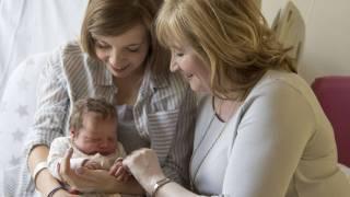 new born, mom and grandma