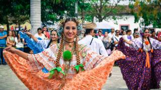 Cosra Rican dancers happy celebrating