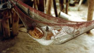 baby sleeping in a hammock netting