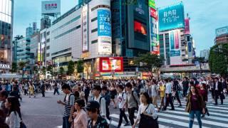 japanese city scene, many people