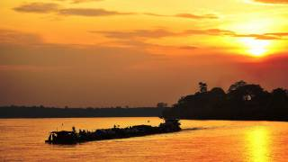 DRC africa water at sunset
