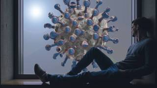 man sitting in a window, coronavirus outside