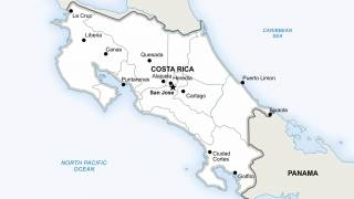 costa rica map showing the country and cities within