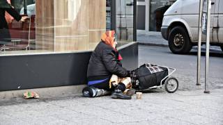 homeless woman on the streets
