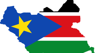 south sudan flag in the shape of the country