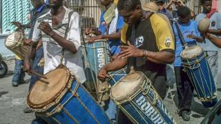 venezuela village men playing drums