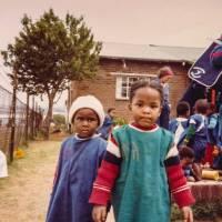 young african children in village