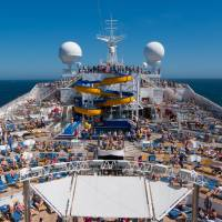 cruise ship top with people on the deck