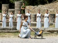 olympic torch being lit in athens greece